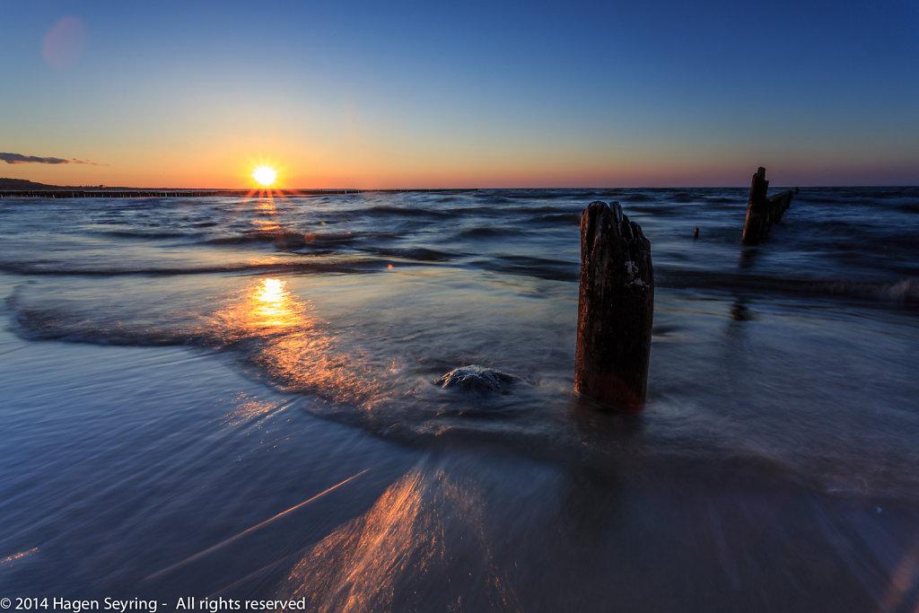 Sunset on the beach of Koserow, Usedom