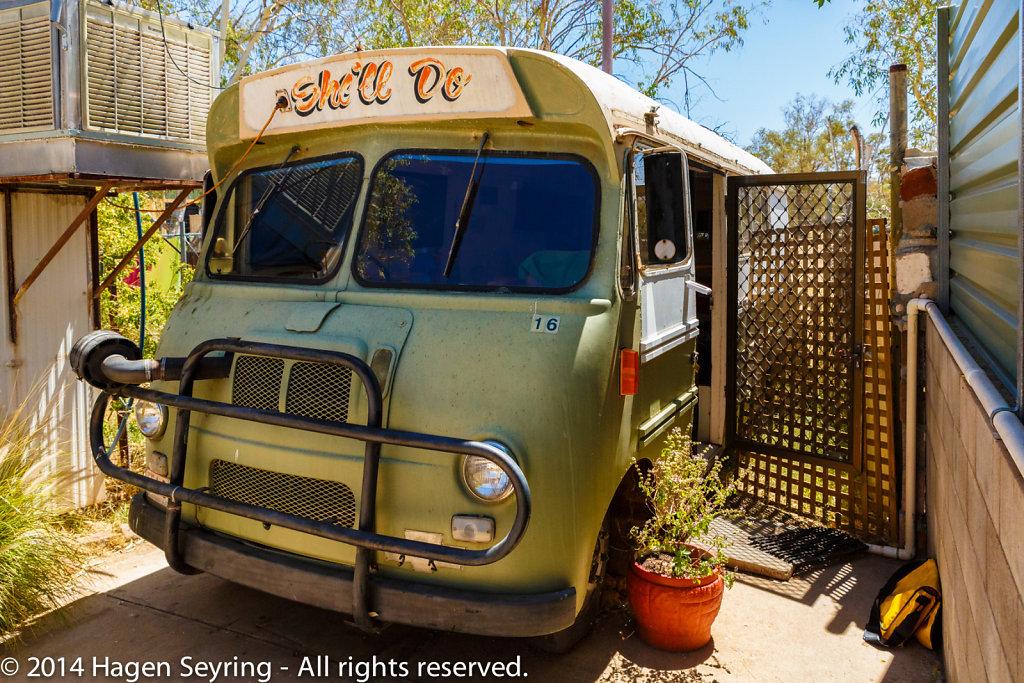 My room in a caravan in Alice Secrets Travellers Inn