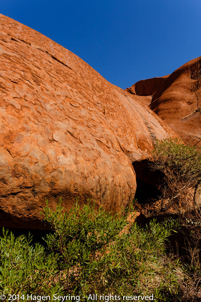 A large sandstone formation of the Uluru