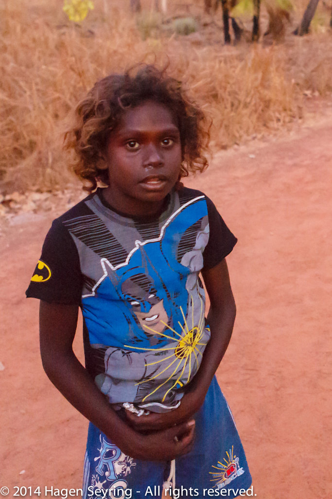 Aboriginal girl during en excursion with her school class