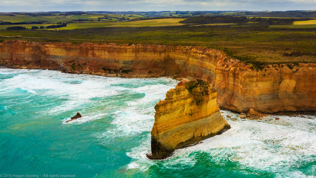One of the twelve Apostles on the Great Ocean Road from the helicopter