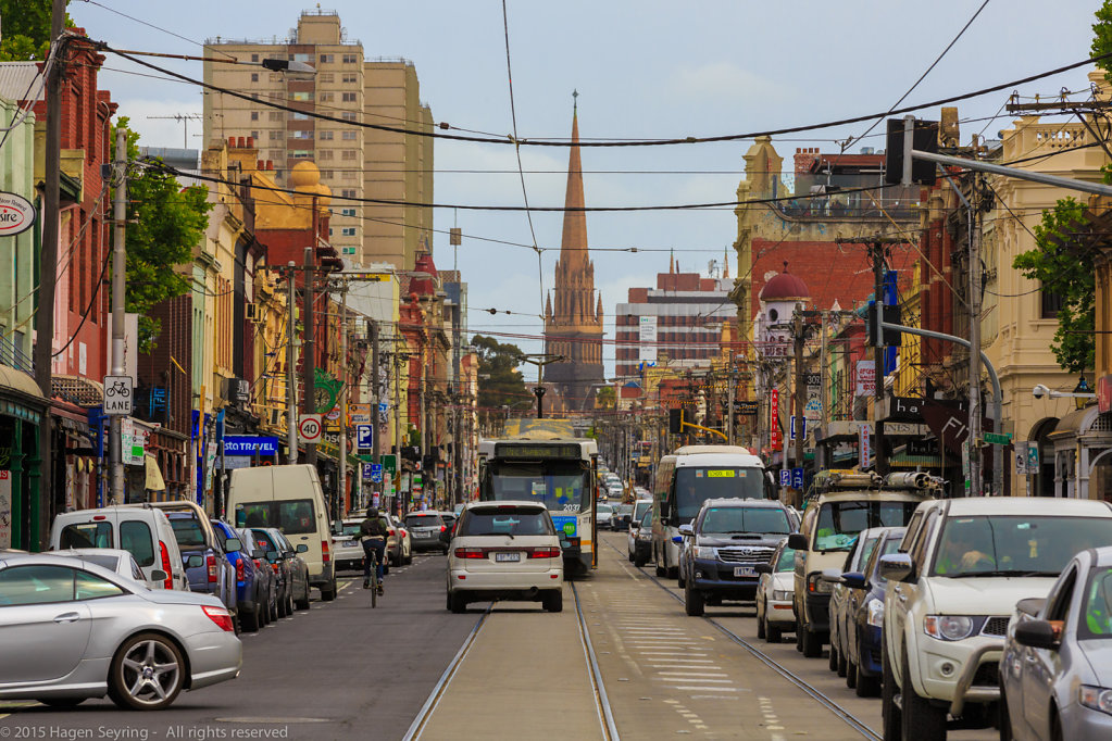 Busy Brunswick Street in Melbourne