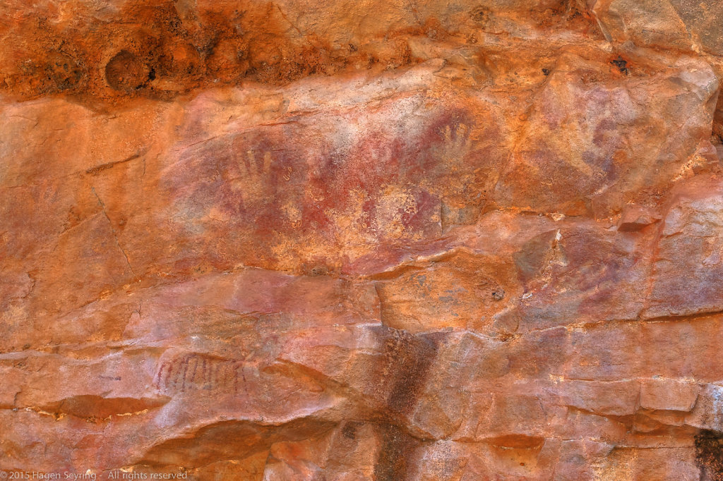 Painted hands on a rock inthe Katherine Gorge