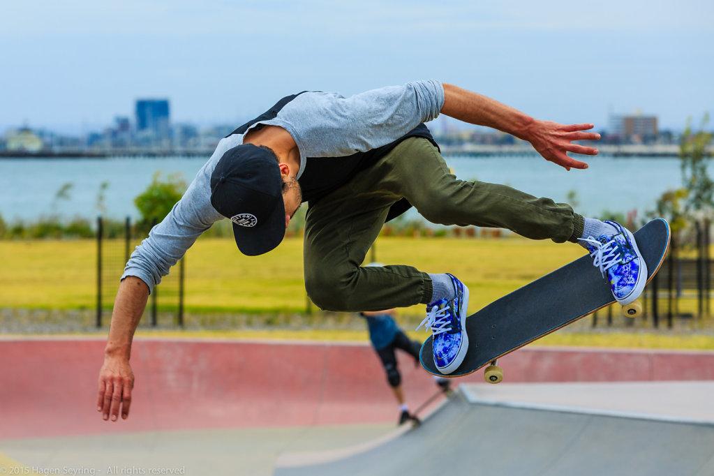 Skater in the half pipe in Melbourne